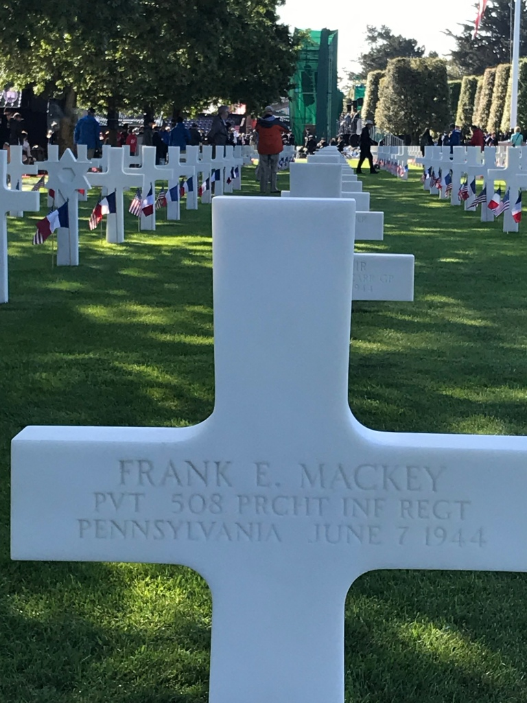 Frank E. Mackey's headstone at his grave in Normandy, France